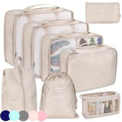 8 Pc Packing Cubes Travel Luggage Suitcase Organizer Waterproof Wash Bag Clothes