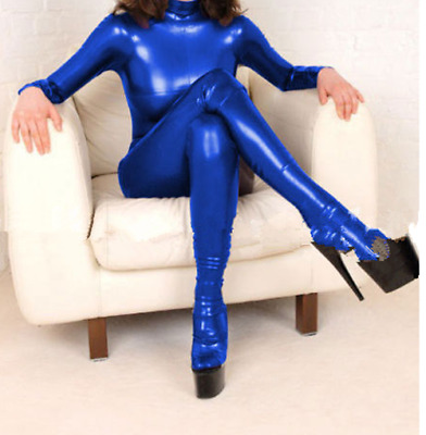 100%Latex Rubber Anzug Gummi Suit 0.4mm Tights Ganzanzug Catsuit Navy Blue S-XXL