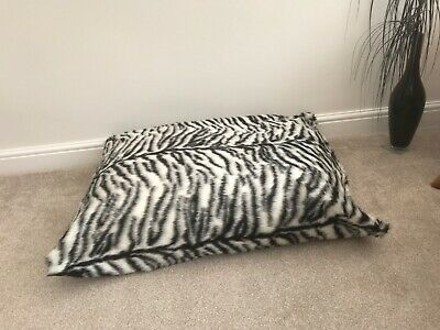 Beanbag Floor Cushion Filled B&W Tiger Faux Fur Large 3cf Size Luxurious