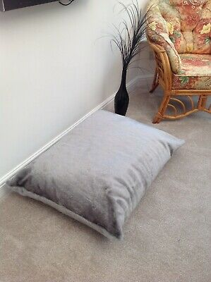 Beanbag floor cushion filled silver fox faux fur large 3cf size new