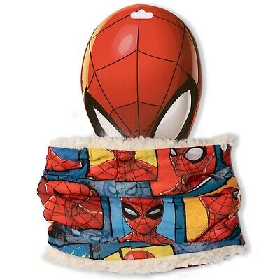 Spiderman Marvel Boys Snood Neck Warmer Winter Scarf Sherpa Coral Fleece 1-8 Yrs