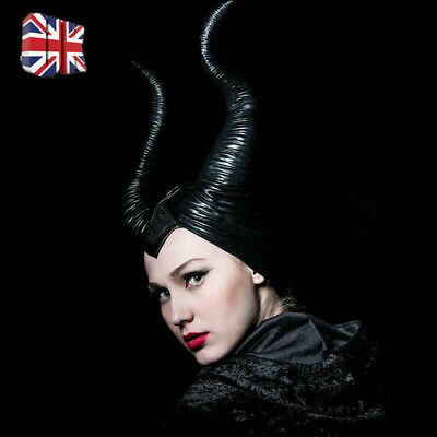 UK Maleficent Horns Evil black Queen Hat headpiece for Halloween Party Cosplay