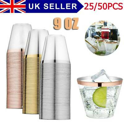 25/50 Plastic Cup Tumbler Wine Glass Party Wedding Juice Champagne Cocktail UK