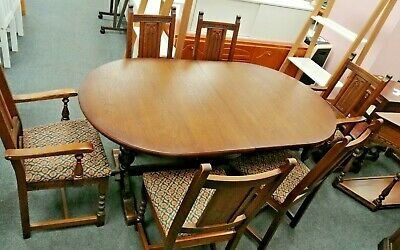 OLD CHARM Tudor Style Solid Oak Extending Dining Table & 6x Chairs - CS H59