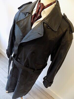 """VTG Mens Black Genuine Real Leather 70s Pea Double breasted trench Coat Mac 42"""""""