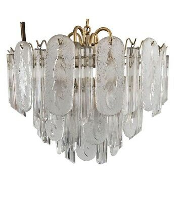 Vintage Mid Century Unique Italian Murano Glass Prism Chandelier Leaf Design