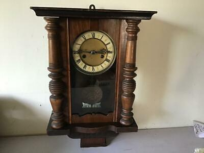 Vintage Oak Walnut Wooden Case Wall Clock Thistle Pendulum Wind Up With Key