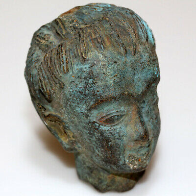 Roman Ear Near East Bronze Male Head Ornament Circa 100-300 Ad