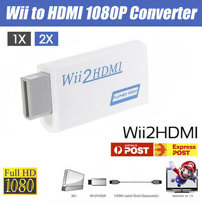 1/2x Wii HDMI Adapter 1080p Wii to HDMI Converter 3.5mm Audio HD Video Output