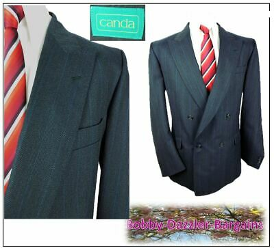 """C&A Double Breasted 2 piece mens suit Ch42""""R W38"""" L29"""" Navy stripe"""