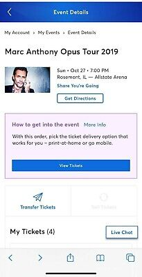 4 Tickets Marc Anthony Opus Tour, Rosemont, IL, Allstate Arena, Oct 27