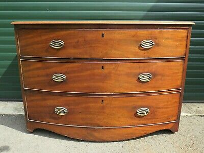 Antique Victorian Mahogany Bow Front Chest Of Graduating Drawers Brass Handles