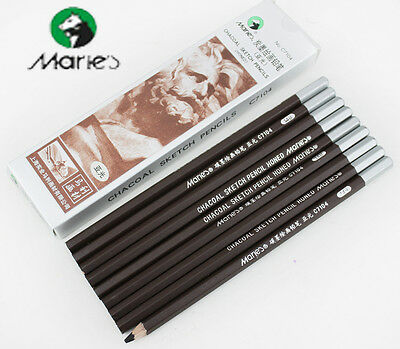 2pcs Marie's 14B Carbon Black Pencil Drawing Sketch Charcoal Matte Artist Paint