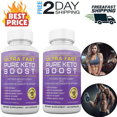 Ultra Fast Pure Keto Boost Weight Loss Diet Pills Ketogenic BHB Supplement 2 PK