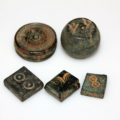 LOT OF 5 BYZANTINE BRONZE WEIGHTS CIRCA 500-700 AD-one with silver inlay