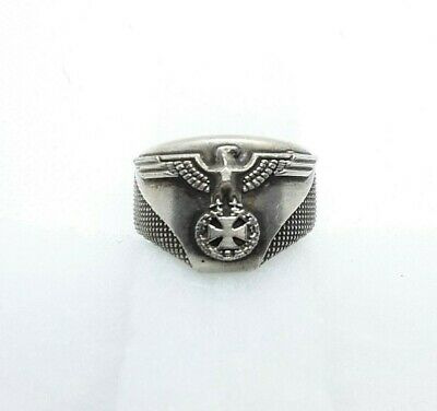 Antique WW2 German Military Ring Iron Cross Eagle Oak Leaf Wreath Iridium Silver