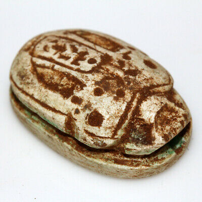 Intact Egyptian Undated Large Size Decorated Bead Seal Scarab