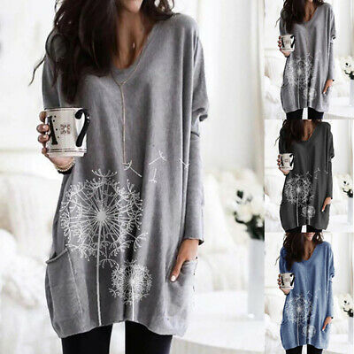 UK Women Long Sleeve Jersey Tunic Top Ladies Loose Pocket Jumper Pullover Blouse