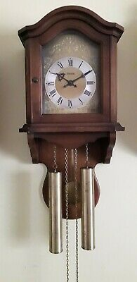Wall Clock Hermle Made In Germany Chiming (Bim Bam) 2 Brass Weight Chain Driven