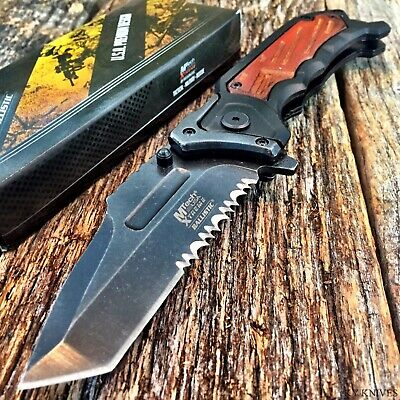 "8.25"" SPRING ASSISTED OPEN Tactical Blade Folding POCKET KNIFE Wood Steampunk S"