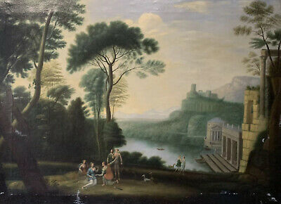 Huge Antique Old Master Oil - After Claude Lorrain - Neo Classical Landscape