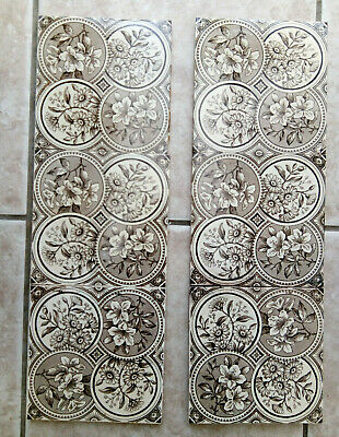 """Lovely - 6 x Brown /Cream Victorian Fireplace Tiles 6"""" x 6"""" - A51 Rd No 110411"""