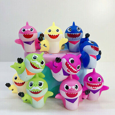 8/10Pcs Cute Cake Decoration Baby Shark Toy Accessories Squeezed  Doll Figures