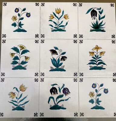 Lot of Vintage westraven utrecht Holland Flowers Tulips Dutch Hand Painted Tiles