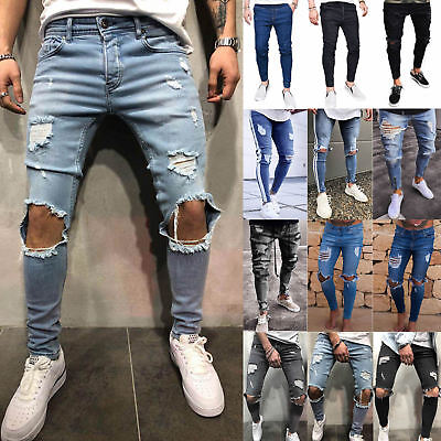 Mens Skinny Ripped Jeans Trousers Biker Destroyed Stretch Slim Denim Long Pants