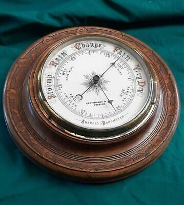19th Century Victorian Wooden Round Wall Barometer in Original Condition