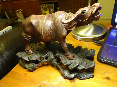 vintage hand carved hard wood buffalo oriental chinese