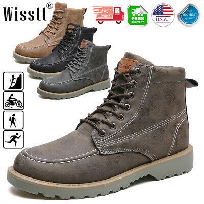 Men's Outdoor Work Boots Winter Leather Boots Lace up Waterproof Snow Boots Size