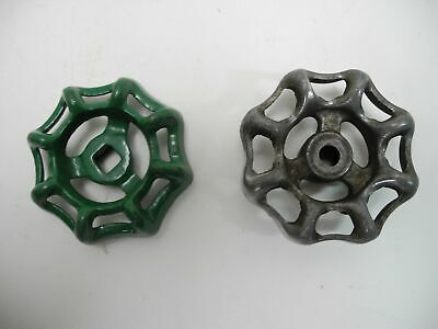 "Vintage 2.2"" Green & Natural Industrial Metal Outdoor Faucet Hose Handle Knob"