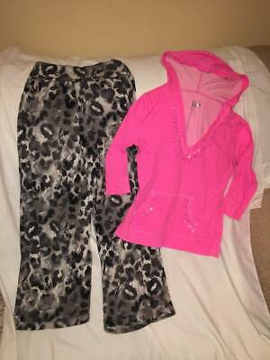 Justice Girls Size 10 Leopard Black / Gray Pants / Pink Hoodie Top Outfit