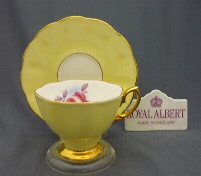Vintage Yellow PAINTERS ROSE Royal Albert England Bone China Tea Cup Saucer Duo