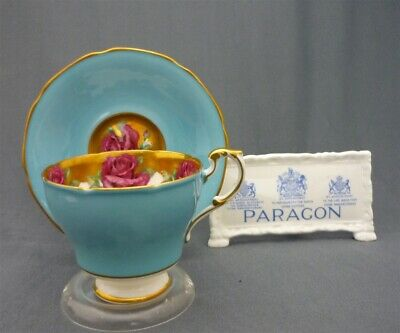 Fancy Paragon England Bone China Heavy Gold Trim Red ROSES Tea Cup & Saucer Duo