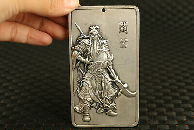 rare Tibet silver Hand carving Guangong fortune statue pendant gift amulet