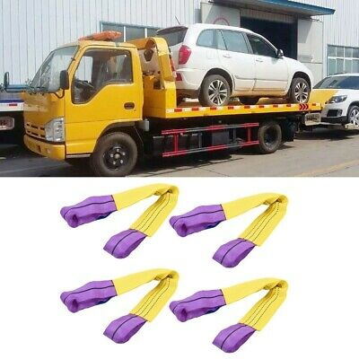 4Pcs Car Auto Recovery Ratchet Alloy Wheel Straps Trailer Tie Down Sling 5000KG