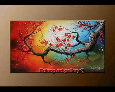 Framed Plum Blossom Floral Abstract Oil Painting on Canvas Contemporary Wall Art