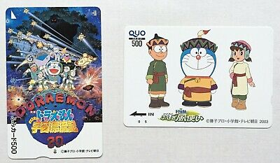 F/S Cute Used Stamp & QUO Card SET Doraemon Movie Anime Cartoon 1999 2003 JAPAN