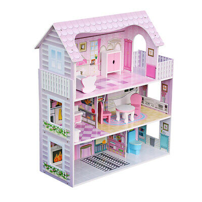 Large Children's Wooden Pink Dollhouse for Barbie Doll House with 8 PC Furniture