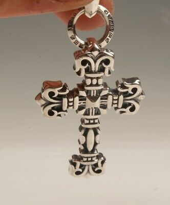 China 925 Silver Hand Carving Christian Cross Pendant Good Luck Collec Old
