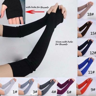 1Pair Soft Stretchy Long Sleeve Fingerless Gloves Cashmere Arm Warmer Sleeves Bs