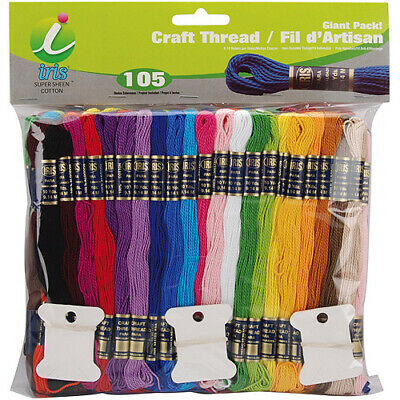 Iris Craft Thread Giant Pack 9.9yd 105/Pkg-Assorted Colors, 1245
