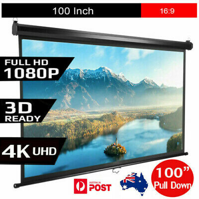Excelvan 100 Inch Diagonal 16:9 Ratio 1.2 Gain Manual Pull Down Projector Screen
