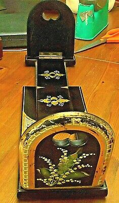 ANTIQUE BOOK SLIDE BLACK LACQUER, MOTHER of PEARL Lily of VALLEY Hand Crafted