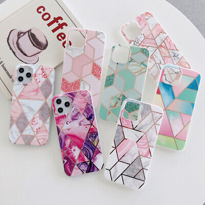 For iPhone 11 Pro XS MAX XR 7 8 Plus Geometric Marble Silicone Shell Cover Case