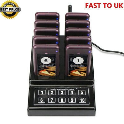 10 Restaurant Coaster Pager Guest Keypad Wireless Calling Paging Queuing System