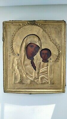 Antique russian orthodox hand painted wood icon Mother of God in brass oklad.