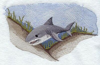 Large Embroidered Zippered Tote - Great White Shark M1573